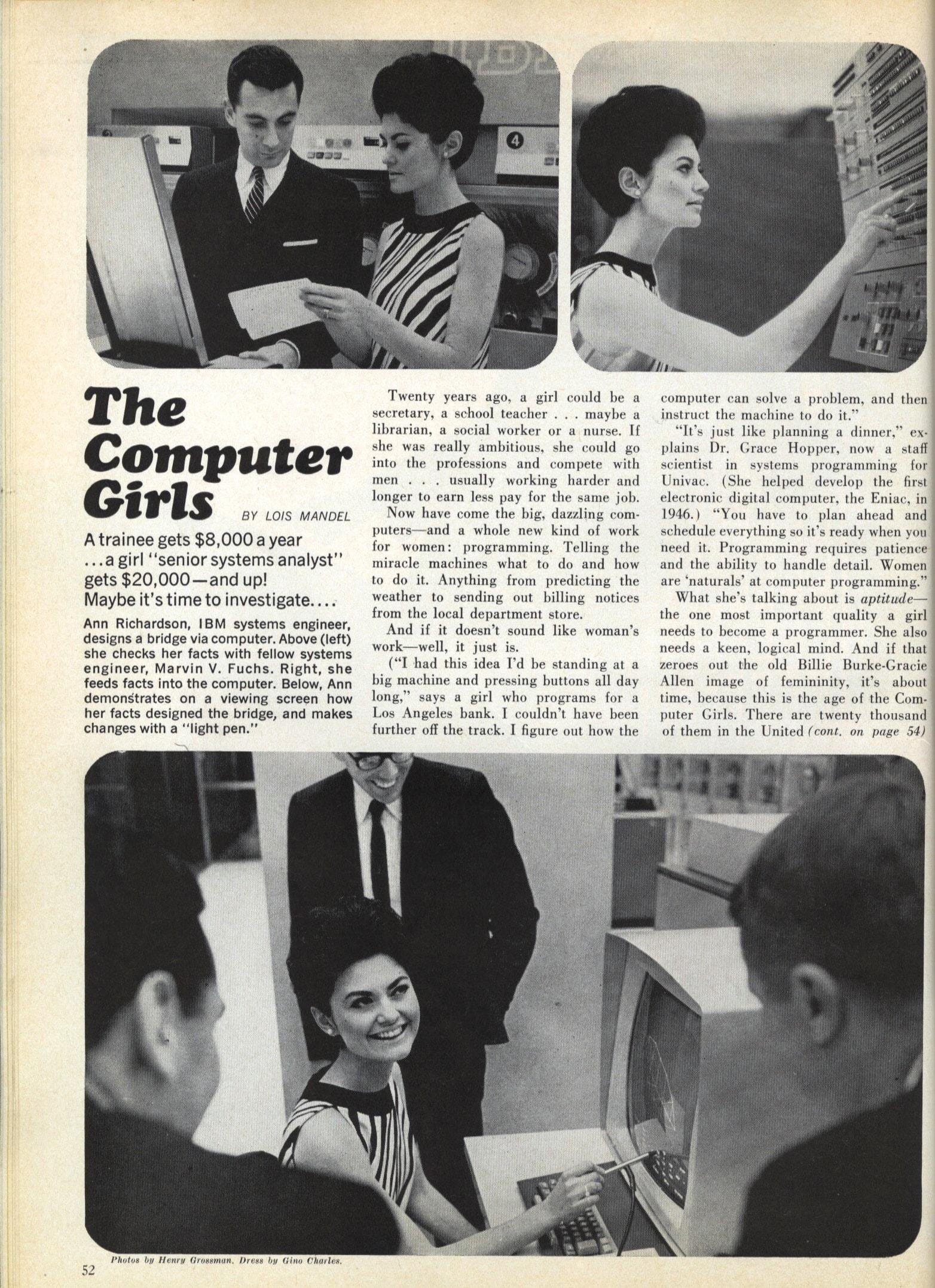 Matéria de jornal entitulada Computer boys com cosmopolitan de Abril de 1967