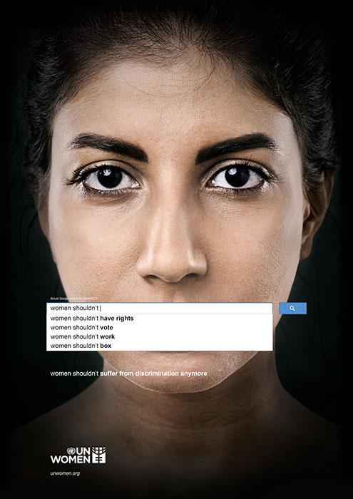 """""""Mulheres não deveriam mais sofrer discriminação"""" A ONU lançou uma campanha incrível para denunciar essas violências usando buscas frequentes no Google. Crédito: Memac Ogilvy & Mather Dubai"""