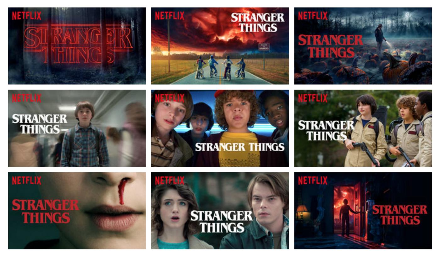 Diferentes opções de miniatura da Série Strange Things