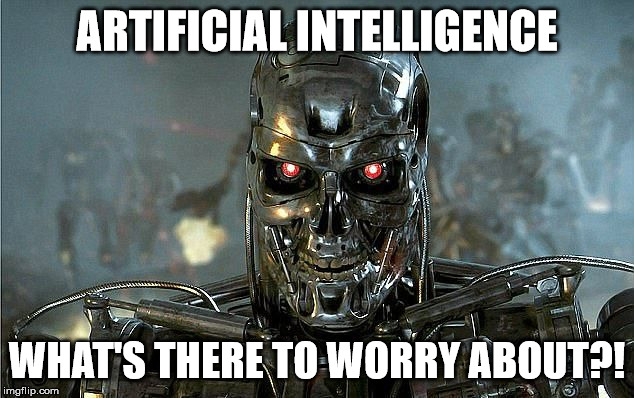 """Frame do filme O Exterminador do Futuro com a frase """"O que há para se preocupar com Inteligência Artificial?"""", em inglês"""