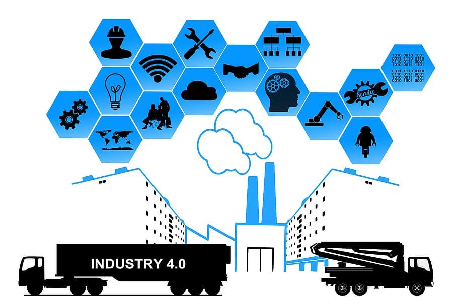 """desenhos de dois caminhões pretos, indústrias, texto """"indústria 4.0"""", internet das coisas, fundo de imagem com vários losangos e símbolos, como wifi, nuvem, obra, lâmpada, cérebro, mapa"""